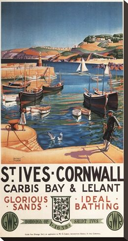 St. Ives, England - Harbor Scene with Girl and Gulls Railway Poster
