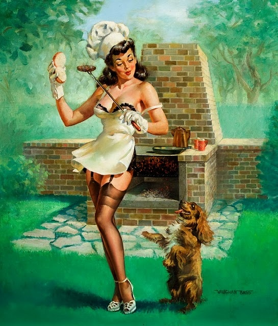Vintage Pin Up Girl by Vaughan Bass: Hotdogs, Pinupart, Vintage Pinup, Pinupgirl, Vaughan Bass, Pinup Girls, Pinup Art, Pin Up Girls, Hot Dogs