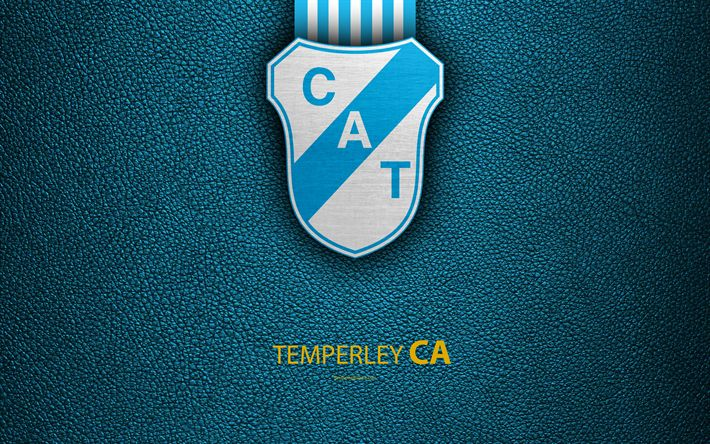 Download wallpapers Club Atletico Temperley, 4k, logo, Buenos Aires, Argentina, leather texture, football, Argentinian football club, Temperley FC, emblem, Superliga, Argentina Football Championships, First Division