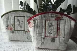 Anne-Grethes quiltblog: Punger med oppmuntring / Pouches with sayings