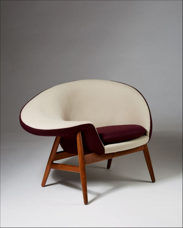 fried egg chair bamboo dining chairs with arms armchair designed by hans olsen for bramin denmark 1956