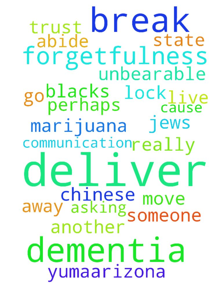 GOD deliver me from forgetfulness and dementia? GOD - GOD deliver me from forgetfulness and dementia GOD will YOU BREAK the prejudice lock someone has on me about the Chinese and blacks, GOD will YOU cause the jews to go away from me and break their stopping communication with me GOD will YOU deliver me from the unbearable living situation I am in and deliver me from friends who I really do not trust, GOD I want to leave Yuma,arizona and move to another state perhaps south Carolina or…