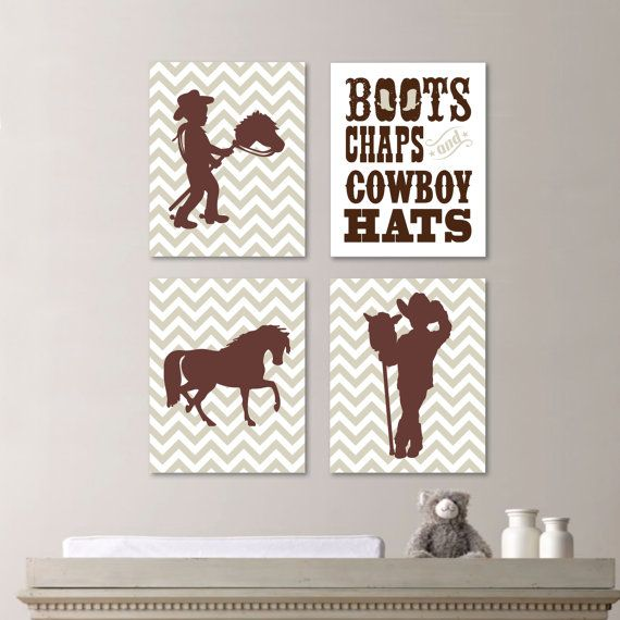 Baby Boy Nursery Print Art - Cowboy Nursery Decor - Kids Wall Art - Horse Nursery Decor - Chevron Nursery (NS-463) on Etsy, $30.00
