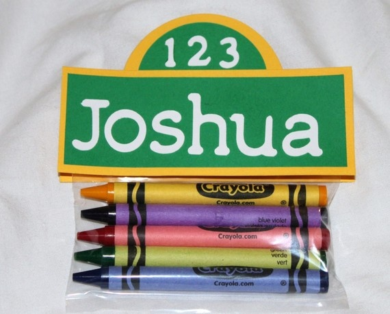 sesame street theme crayon favors / etsy: cherished blessings