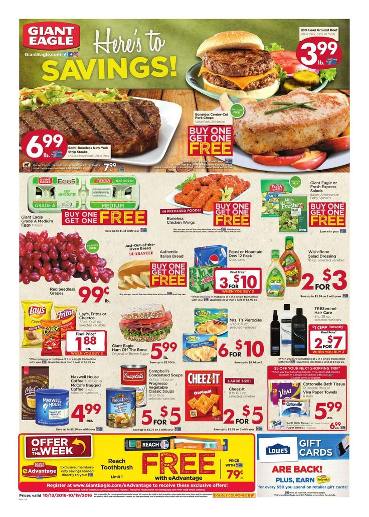 Giant Eagle Weekly Ad October 13 - 19, 2016 - http://www.olcatalog.com/grocery/giant-eagle-weekly-ad.html