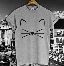 КОТЕНОК КОТЕНОК Мяу Печати Женщины футболка Хлопок Повседневная Смешные Рубашку Для Леди Серый Белый Топ Тройник Hipster Z-232(China (Mainland))