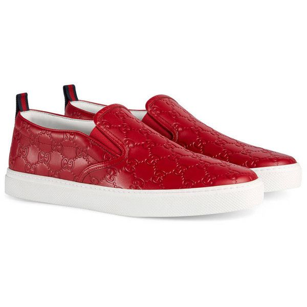 Gucci Gucci Signature Slip-On Sneaker ($500) ❤ liked on Polyvore featuring men's fashion, men's shoes, men's sneakers, men, red, shoes, sneakers, mens red leather shoes, mens slip on shoes and mens leather sneakers
