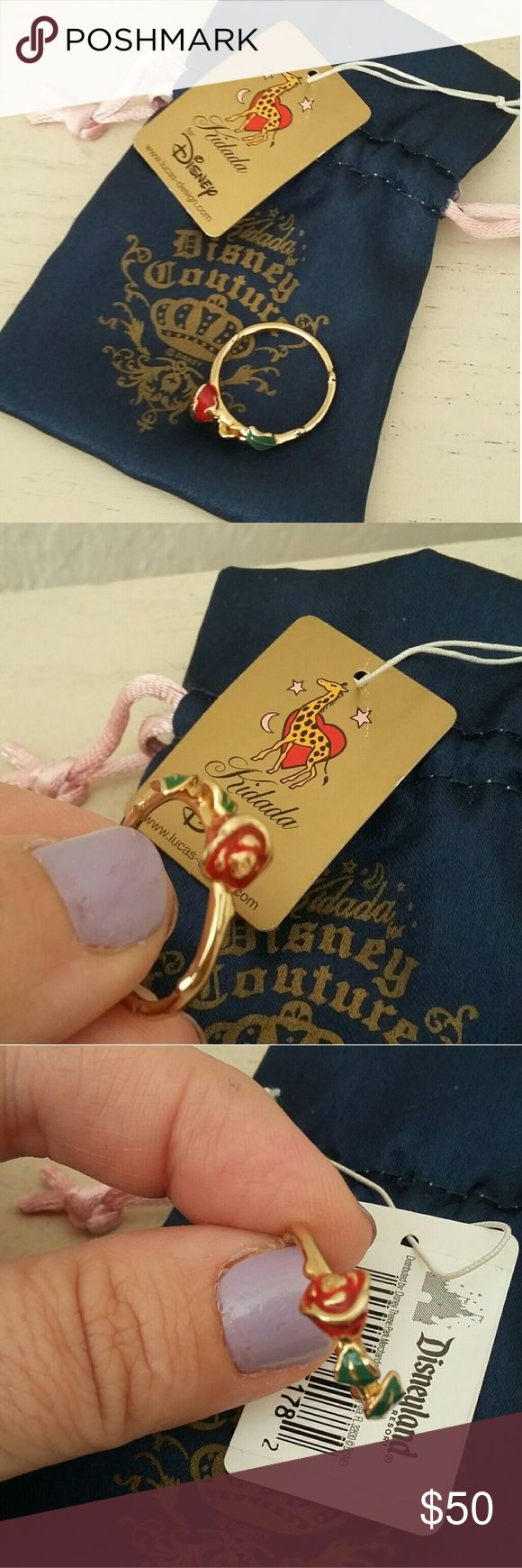Disney couture Beauty and the Beast rose ring Used condition although in great shape. Gold Platte with enamel  painting. Disney Jewelry Rings