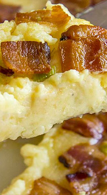 Twice Baked Potatoes Casserole with Cream Cheese, Bacon, and Garlic ~ The perfect side dish recipe and it serves a crowd