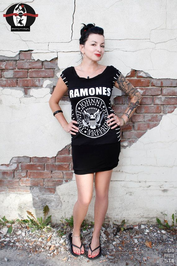 Ramones Tshirt Dress Black and White Size Large/ by HarmonyWalker, $64.00