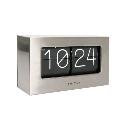 this stylish karlsson boxed flip clock in brushed steel will look very smart on an office desk on a table or on a mantelpiece