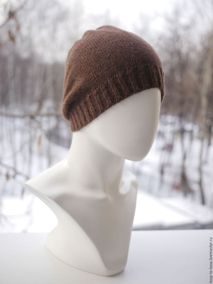 Купить Вязаная шапка - коричневый, однотонный, вязаная шапка, шапка, шапочка, женская шапка
