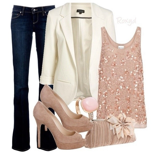 Very chic with denimDates Night Outfit, Fashion, White Blazers, Style, Clothing, Soft Pink, Pale Pink, Date Nights, Cute Outfit