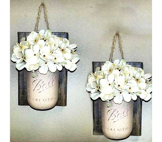 Mason Jar Decor , Hanging TWO hand painted , Wall Vase , Wall Sconce , Storage , Bathroom ...