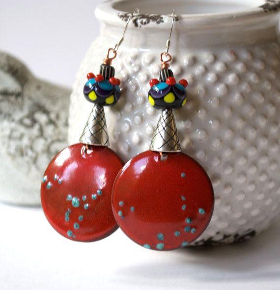 Unique Red Earrings Copper Enamel Earrings Colorful by bstrung