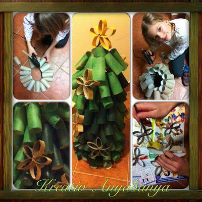 Kreatív Anyabanya: Karácsonyfa wc papír gurigából