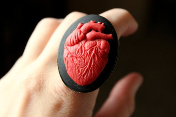 Anatomical Heart Cameo Ring in Bronze by passingthroughshop