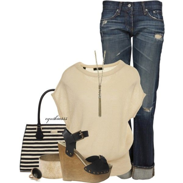 A fashion look from February 2013 featuring AG Adriano Goldschmied jeans, Madison Harding shoes and Kate Spade handbags. Browse and shop related looks.