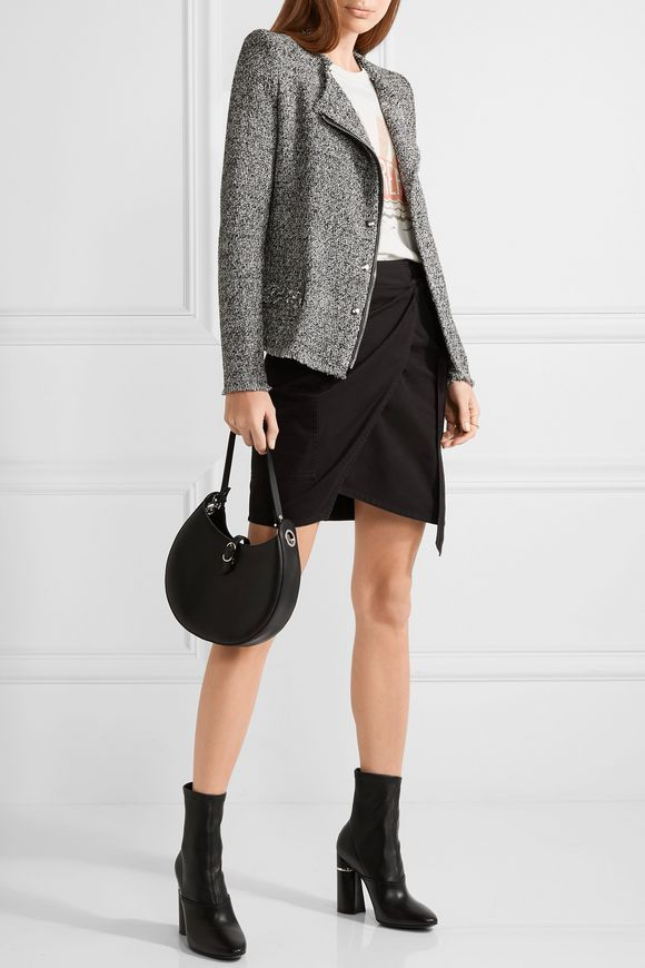 Leather-trimmed frayed cotton-blend tweed jacket | IRO | Sale up to 70% off | THE OUTNET