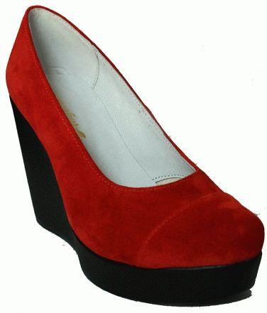 Обувь Туфли  ODRI на танкетке красные