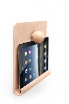 Tablet wall stand in moulded wood by Nordic Appeal