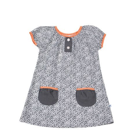 Black, grey and white floral print short sleeve dress, with grey houndstooth pattern pockets, elasticised orange trim, and flower shaped buttons. 100% cotton. Made in Lithuania.