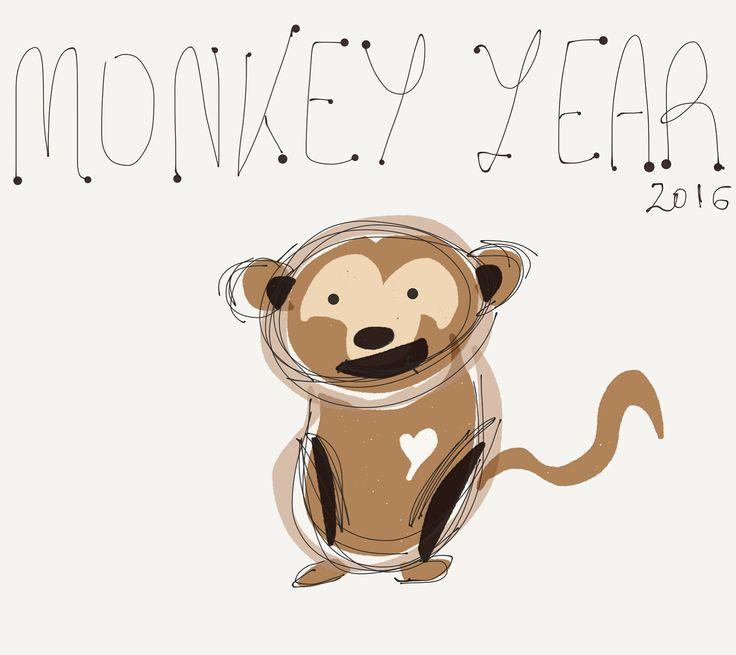 Digital art #ipadart  2016 monkey's year
