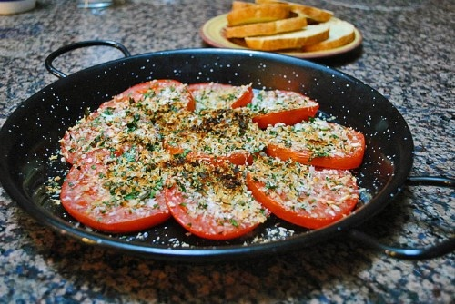 Gratin of Beefsteak Tomatoes.  maybe nuts for crunch instead of breadcrumbs?