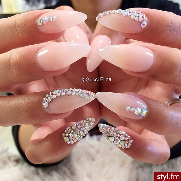 Pale pink crystal stiletto nails