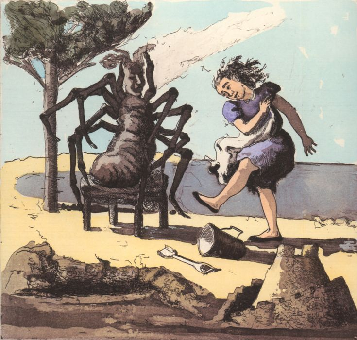 "Paula Rego, Little Miss Muffet"" (II)1989, Hand coloured etching and aquatint"