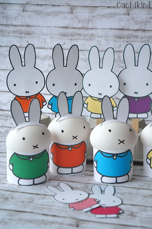 Miffy-Ostern. Printables (Freebies) zum Basteln von Miffy-Eiern.  Eierbecher aus Pappe, Miffy am Stiel, lustige Osterdeko für Kinder, Hasen-Eierbecher Easterideas with miffy