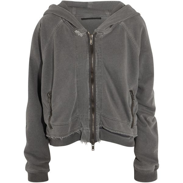 Haider Ackermann Reversible cotton-jersey hooded top ($475) ❤ liked on Polyvore featuring jackets, tops, outerwear, hoodies, coats & jackets, grey and haider ackermann