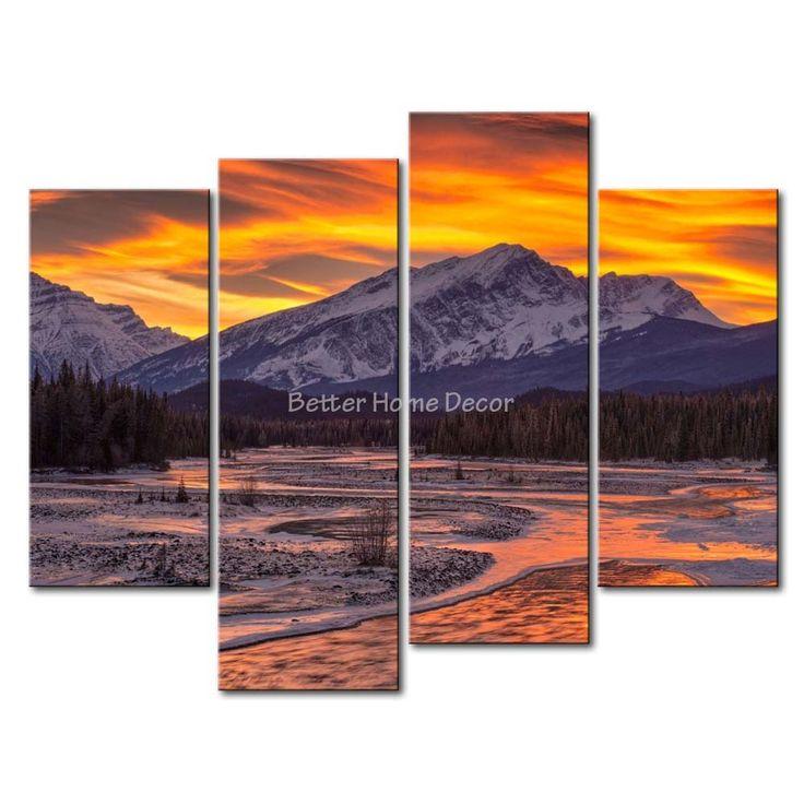 3 шт. стены искусства живописи зимний закат в снежных гор плавления рек небольшой лес изображения для печать на холсте пейзаж