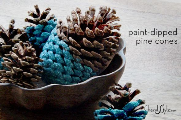 paint-dipped-pine-cones-centerpiece for the home  Instruction: http://www.cherylstyle.com/showcase/diy-paint-dipped-pinecone-centerpieces/