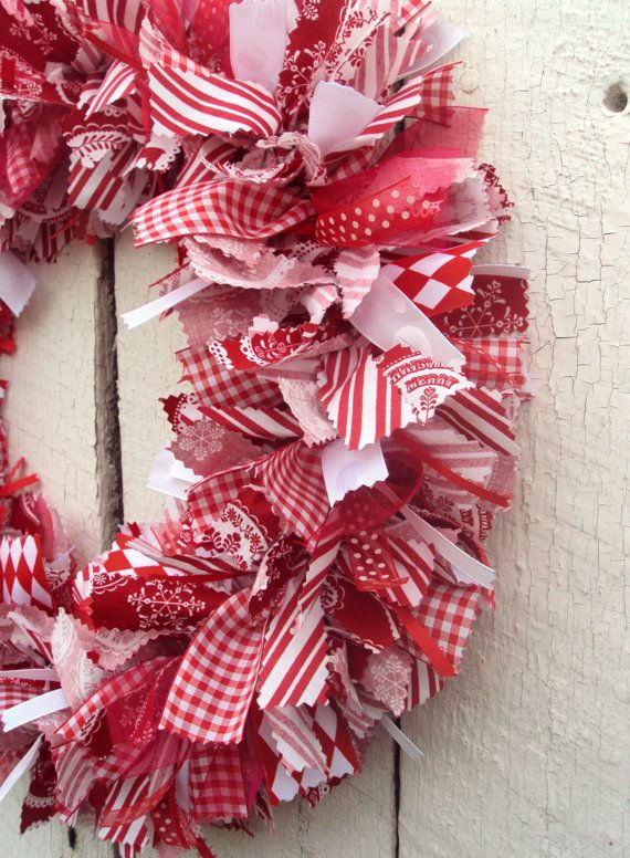 Red White Christmas Rag Wreath Red White Fabric By