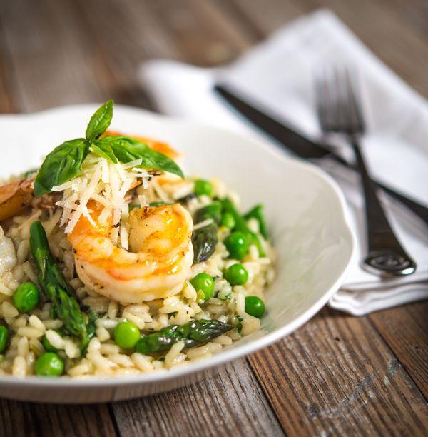 Spring Risotto with Lemon Garlic Shrimp   Recipe   Grilled shrimp ...