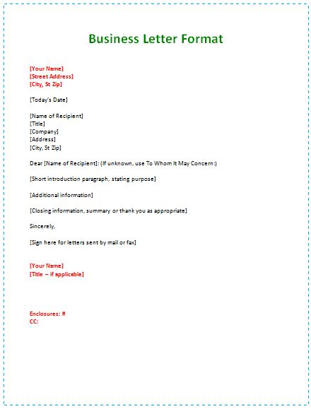 Formal Letters Format. Format Of Formal Letter To The Company Word