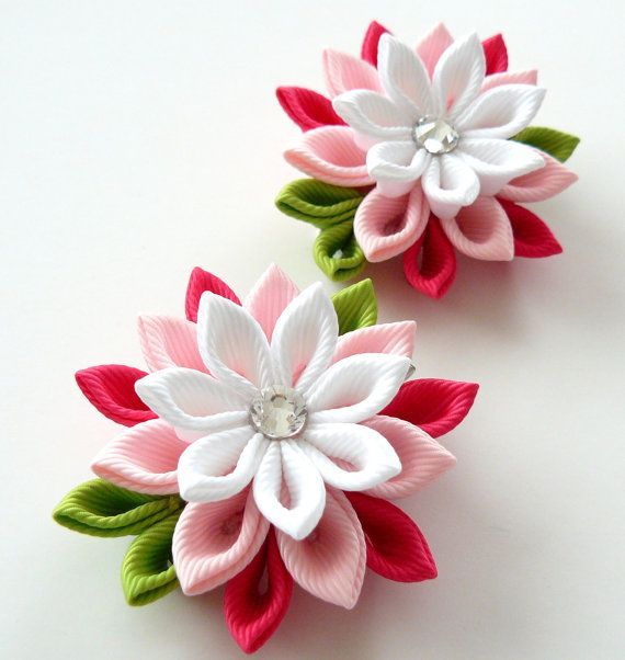 Kanzashi Fabric Flowers. Set of 2 hair clips. Pink and white. on Etsy, $15.62 AUD