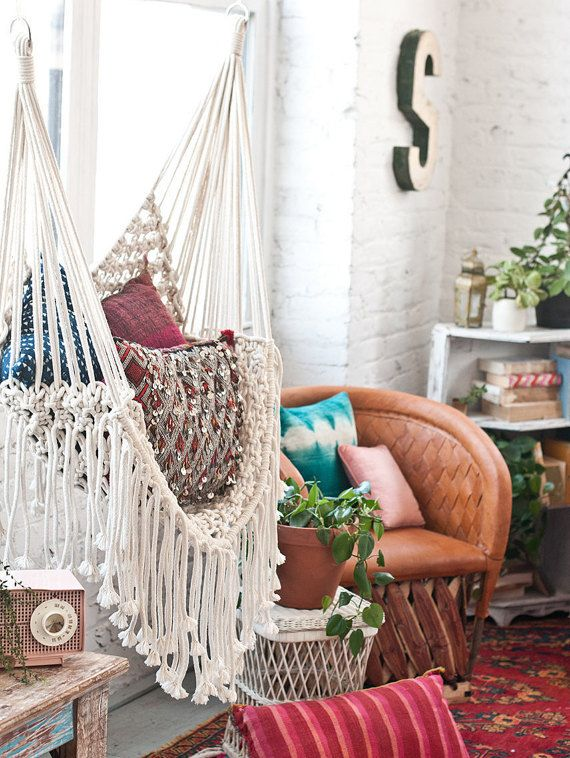 Hippy hammock macrame chair macrame chairs hammock for Macrame hanging chair