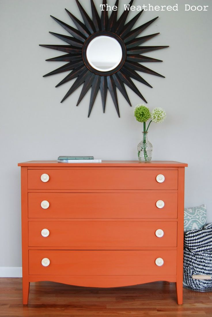 An Orange Milk Paint Dresser with Bone Knobs