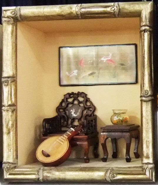 Framed Chinese diorama by Mez
