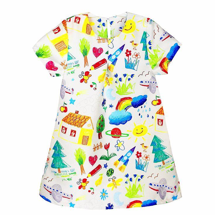Goedkope Kid jurk voor meisje 2017 Lente & Zomer Europese stijl cartoon graffiti strepen gedrukt meisje elsa jurk voor 2 10 jaar, koop Kwaliteit jurken rechtstreeks van Leveranciers van China: Kid Dress For Girl 2017 Europe Girls Bow Dress Cartoon Print Princess Dress Ocean Odd Edge Children's Clothing For Party
