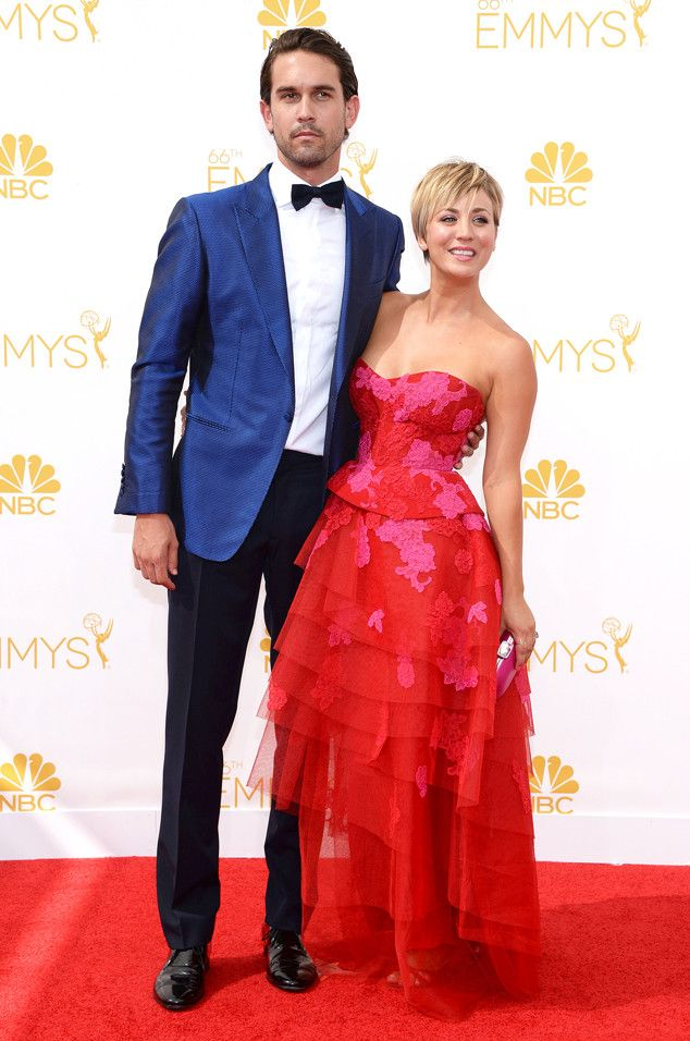 Kaley Cuoco-Sweeting & Ryan Sweeting from 2014 Emmys: Red Carpet Couples | E! Online (orange  red and pink)