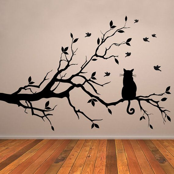 Cat on a Branch Wall Decal with Birds by TheStickerWorkshop