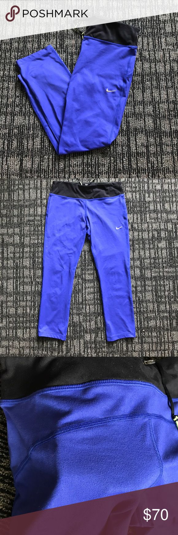 Royal Blue Cropped Nike Tights Nike royal blue cropped leggings. Only small amounts of wear around the back but they are in really great condition Nike Pants Leggings