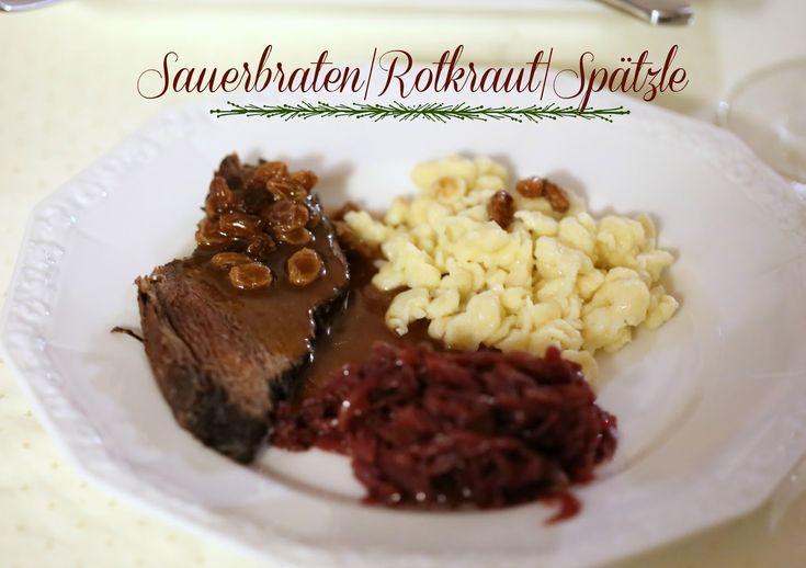 Sauerbraten, Rotkraut, Spätzle