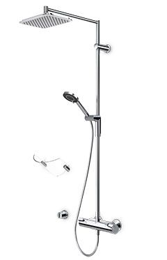 Oras Optima. Thermostatic rain shower faucet with easy-grip handles and hand shower (7192U)