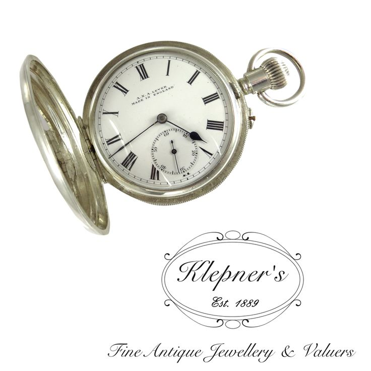 Sterling silver Antique, engine turned, hunter style pocket watch, Made by A.N.A. Lever, England. Visit us at www.klepners.com.au