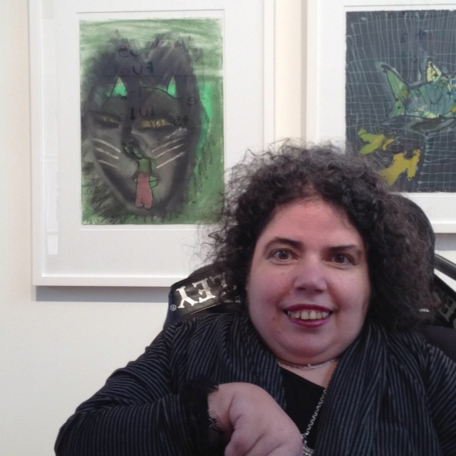 Dionne Canzano with her artwork at the Melbourne Art Fair - stunning.