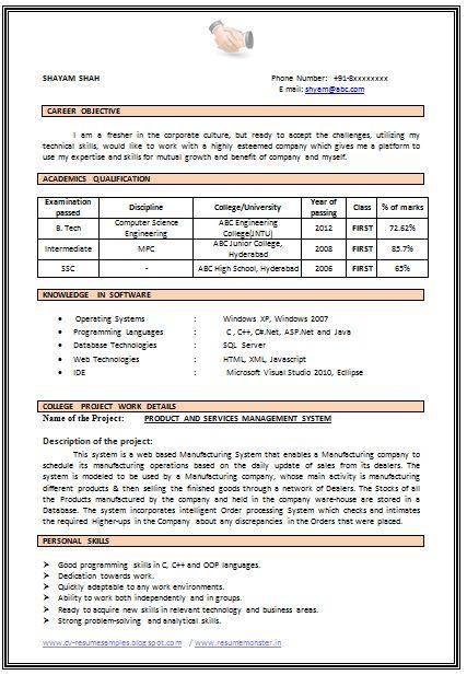 mba cv objectives example